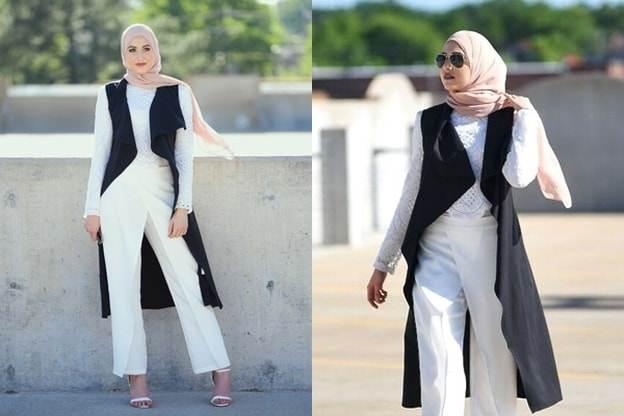 نصائح لارتداء البنطال الأبيض للمحجبات