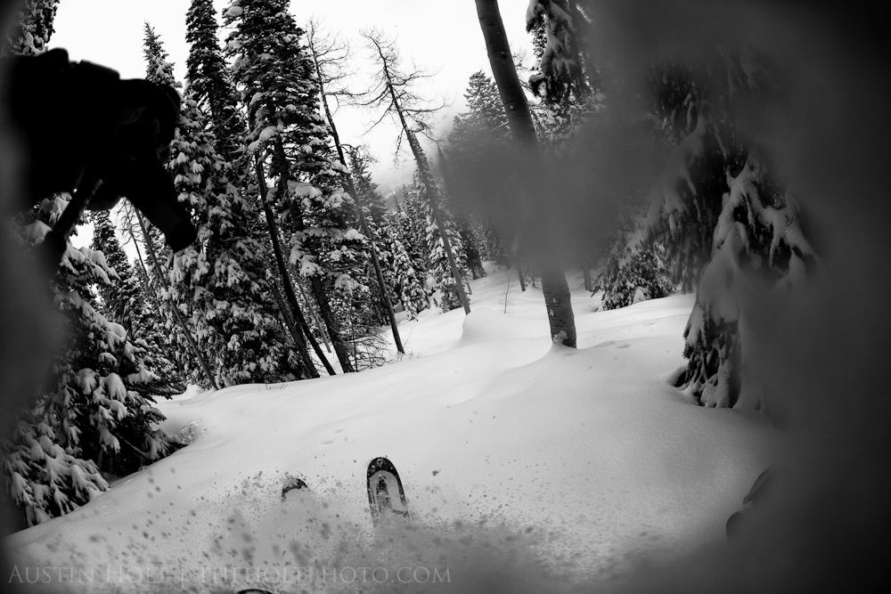 Skiing through the trees in deep powder at Solitude Resort