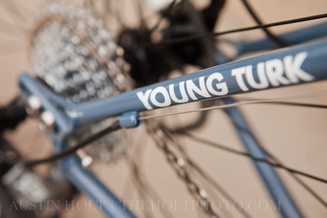 A photograph of the graphics on the frame of a Young Turk 29er mountain bike from Civilian Bikes