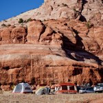A campground setup for a photoshoot for Backcountry.com in Moab, Utah