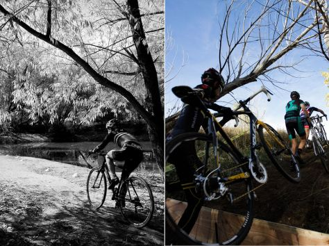 A photo of a cyclocross rider hopping a barrier and a photo of a rider pedaling through the trees at the UTCX event.
