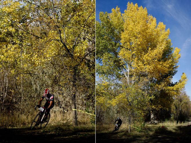 Two vertical photos of cyclocross racers riding in the UTCX event at Soldier Hollow in the fall.