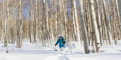 Photographer Re Wikstrom skiing trees in Big Cottonwood Canyon on a powder day.