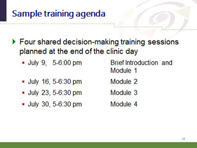 SHARE Approach Workshop Curriculum Agency for Healthcare Research - sample training agenda