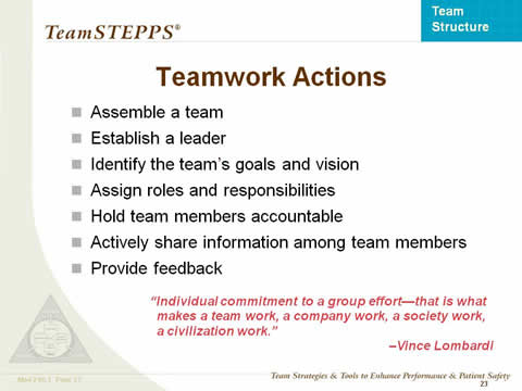 Team Structure Instructor Slides Agency for Healthcare Research - an example of teamwork