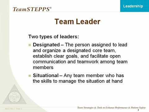 Leadership Instructor Materials Agency for Healthcare Research