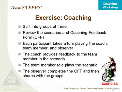 Coaching Workshop Instructor Slides Agency for Healthcare - coach feedback form