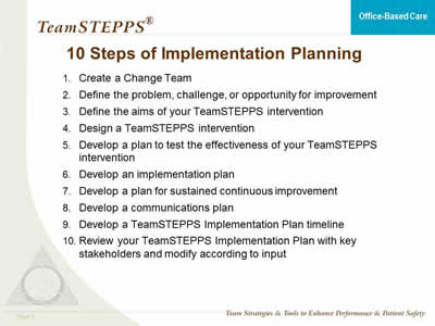 TeamSTEPPS for Office-Based Care Implementation Planning Agency