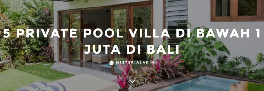 5 Private Pool Villa di Bawah 1 Juta di Bali