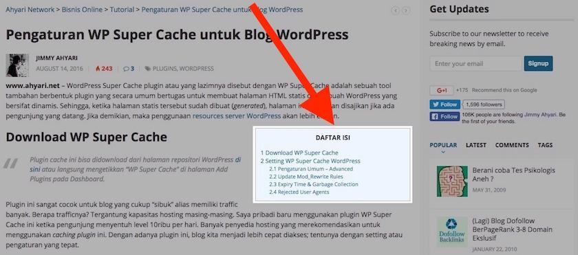 """Cara Membuat """"Table of Content"""" di WordPress"""