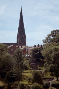 View of St Matthews Church and Hollywood Park steps from Heaton Mersey