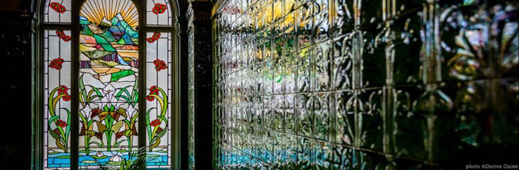 Victoria Baths stained glass and tiled wall - image by workshop participant Darren Quinn
