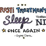 """hand-drawn text with moon and stars what reads """"Airrosti treatment allowed me to sleep through the night once again"""" Crystal Clark"""