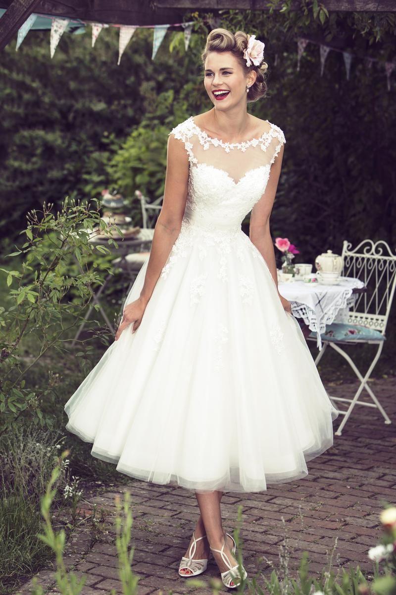 wedding dresses c 68 vintage inspired wedding dresses Tea Length Illusion Neck Lace Bodice A line Tulle Wedding Dress