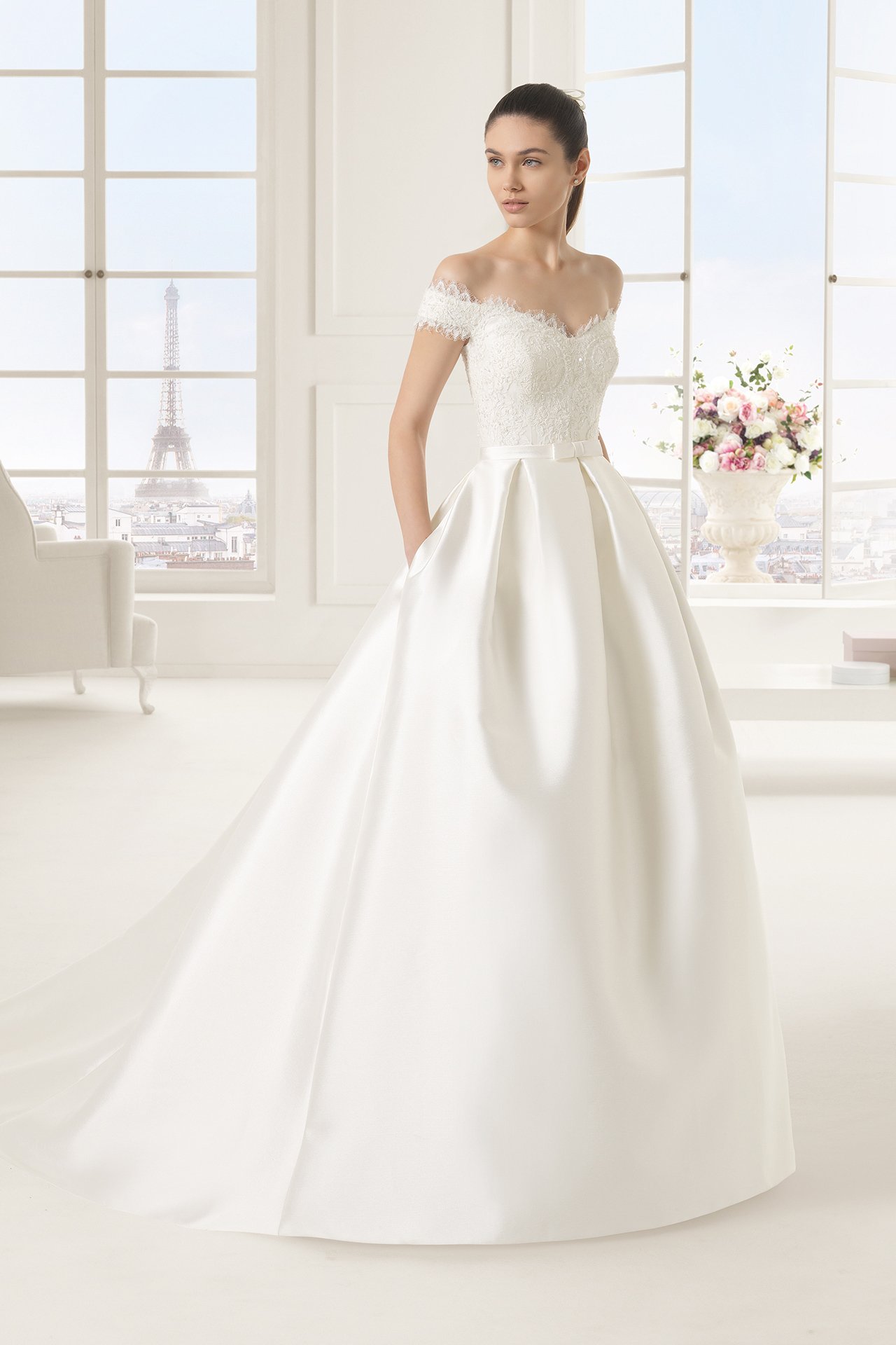 wedding dresses c 68 heart shaped wedding dress Off the shoulder Lace Bodice Ball Gown Satin Wedding Dress with Bow
