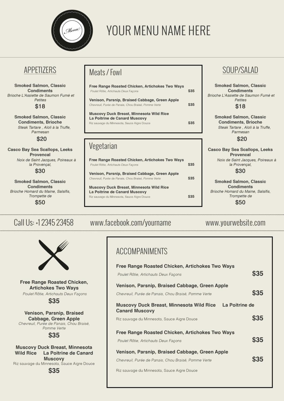 menu templates free microsoft – Free Menu Templates Printable