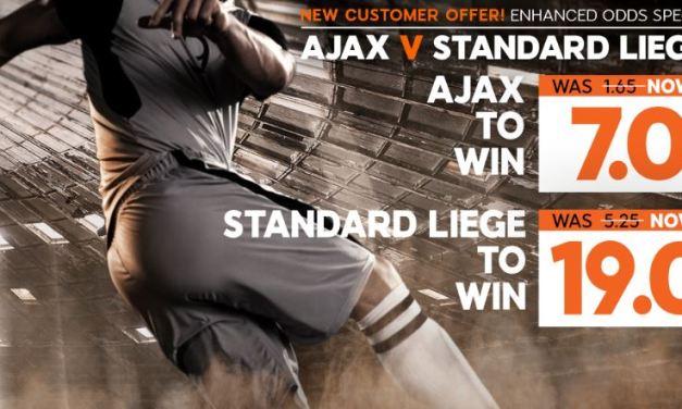 Wedtip: Ajax wint van Standard voor 7.00 keer je inzet!