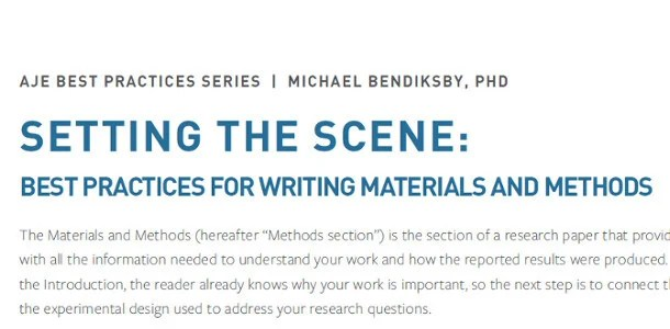 Setting the Scene Best Practices for Writing Materials and Methods