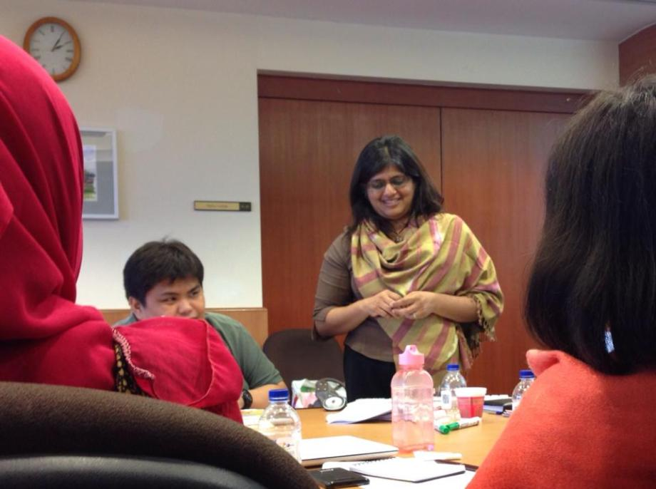 V. Gayathry (right) conducts a workshop on diversity. Photo: Cherian George
