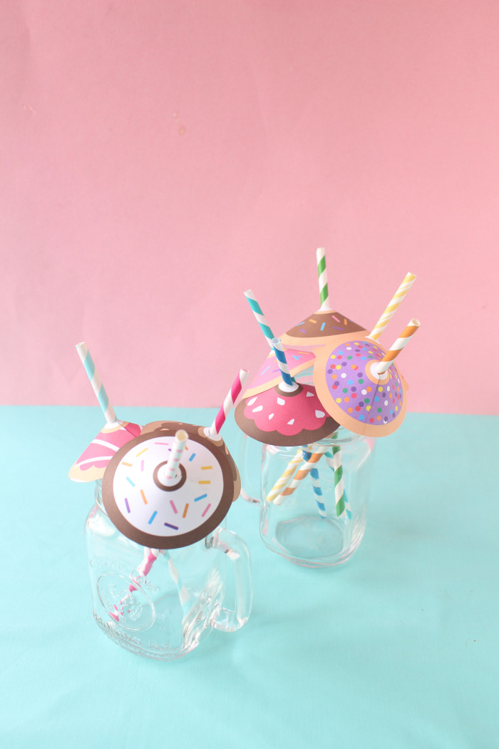Free printable donut straw umbrellas from A Joyful Riot