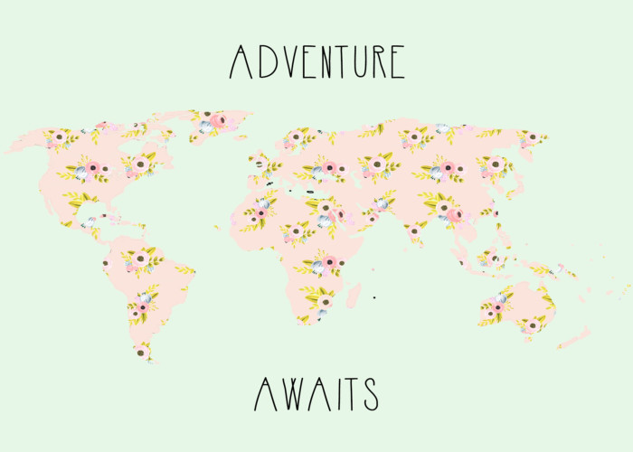 """floral """"adventure awaits"""" map free print in two styles and sizes from ajoyfulriot.com"""
