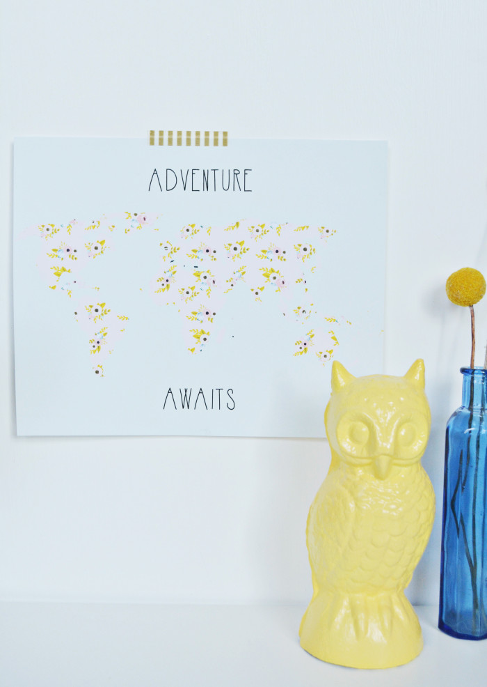 """Free printable floral map """"adventure awaits"""" in two styles and three sizes!"""