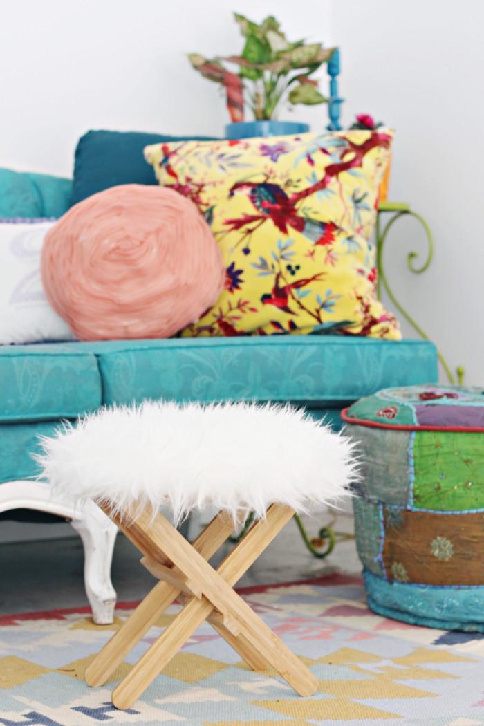 Ikea hack furry foot stool ottoman 7