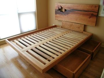 Custom Platform Bed With Live Edge Headboard Drawers