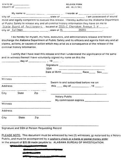 AUCTIONEERS/Appendix A - bond release form