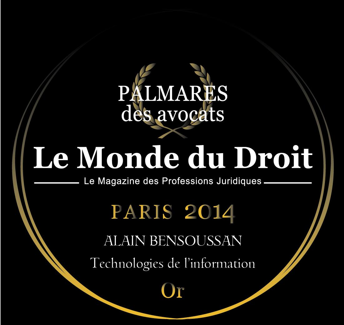 Trophée d'or Le Monde du Droit 2014