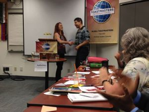 Before giving a speech at Toastmasters