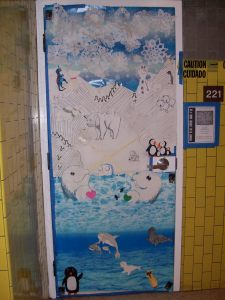 Arctic animals convene on Ms. Turpin's door.