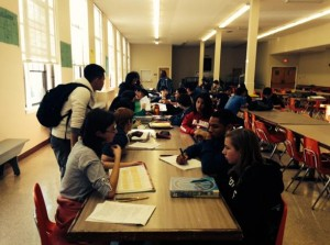 Upperclassman Link Crew members help freshmen prepare for final exams. Photo by Eric Shawn