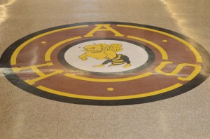 This AHS seal greets all who enter the main building from the front door. Photo by Alanna Greene