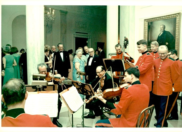 Alexander Schneider (Budapest Quartet) and Honorable Abe Fortas (Justice, U.S. Supreme Court) participate in some impromptu chamber music at the White House with Danny and Alan. Presidents Johnson and Ford appear to be enjoying the musical experience!
