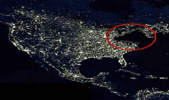 The view of the United States from space on the night of November 9, 1965