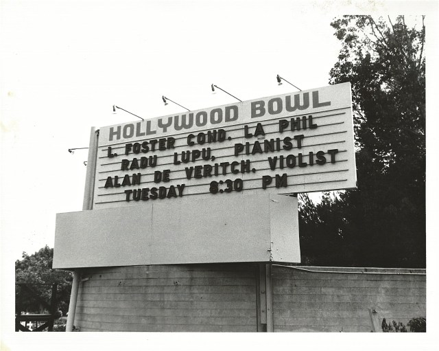 Photo of Hollywood Bowl Marque associated with one of Alan's numerous solo appearances at the Bowl throughout his career.