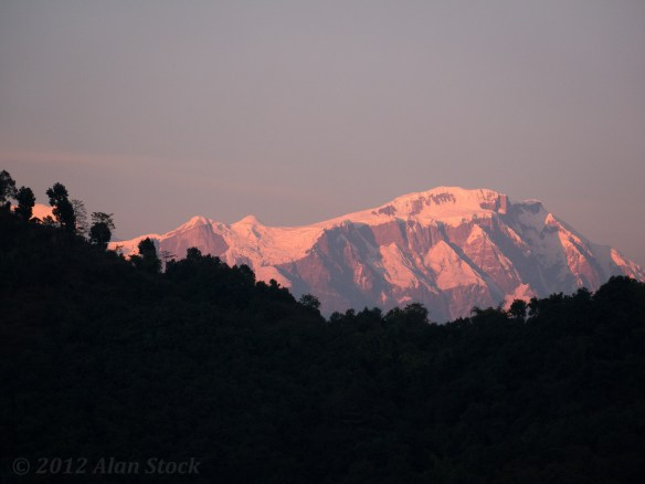 Our hotel roof offered a good spot for photos of the Annapurnas