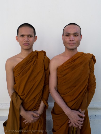 "Monks I met at one of the quieter temples in Bangkok. Monks tend to be quite friendly, don't be afraid to approach them and have a chat, many speak English in the cities. In some temples ""Monk Chat"" is available, its an interesting experience."