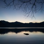 Silhouette lake Wanaka New Zealand reflection