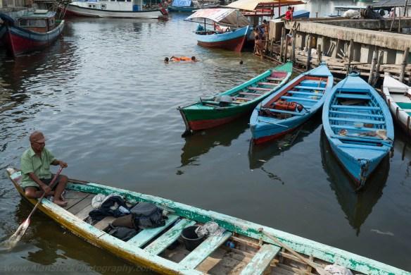 Jakarta harbour longboats