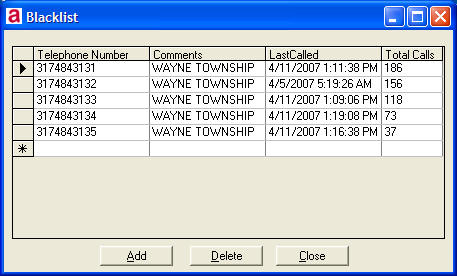 AlarmTraq™ Feature Blacklisted Telephone Numbers