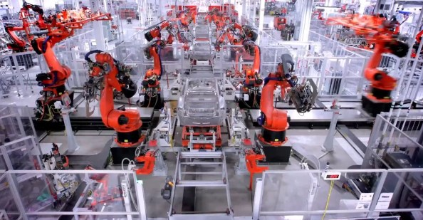 Tesla Car Building Robots