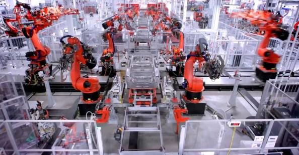 Tesla Car Building Robots
