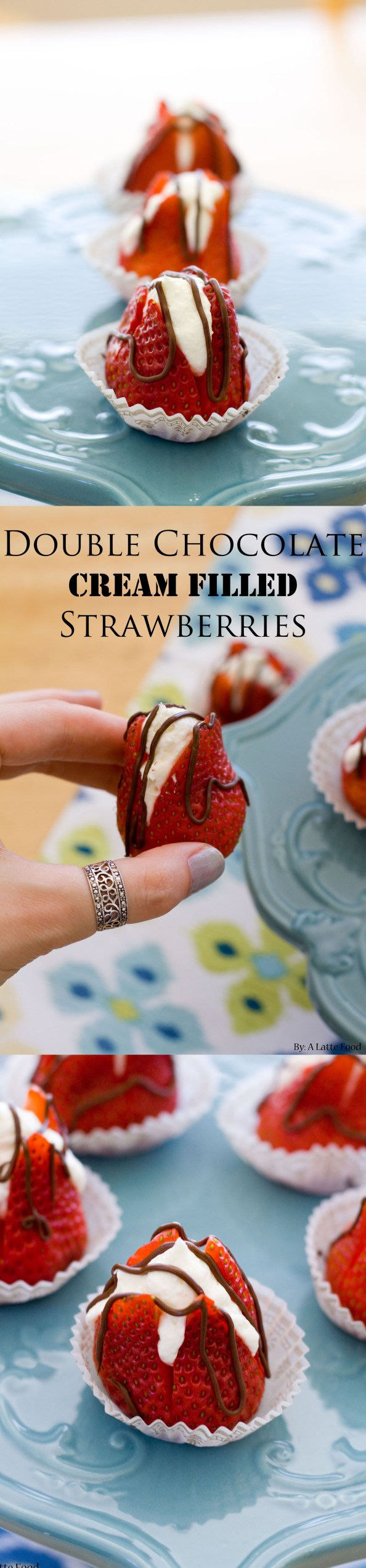 Double Chocolate Cream Filled Strawberries | A Latte Food