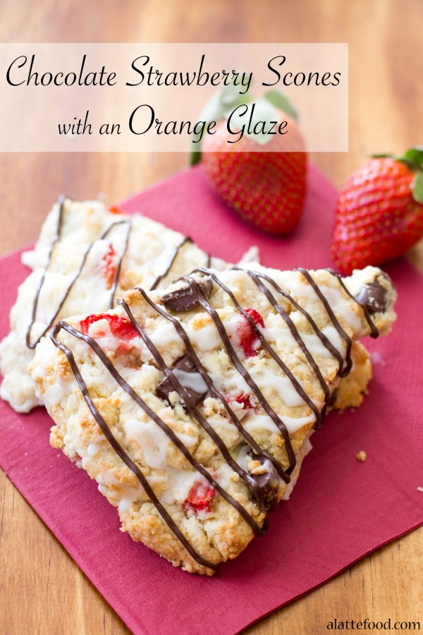 Chocolate Strawberry Scones with an Orange Glaze | A Latte Food