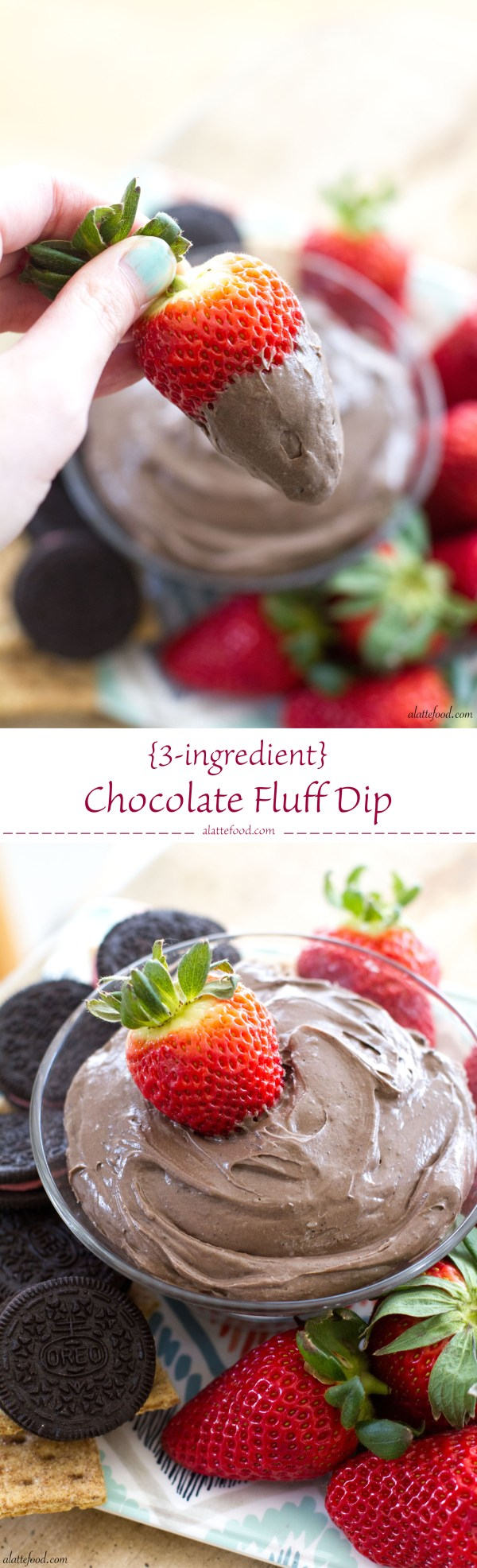 {3-ingredient} Chocolate Fluff Dip | A Latte Food