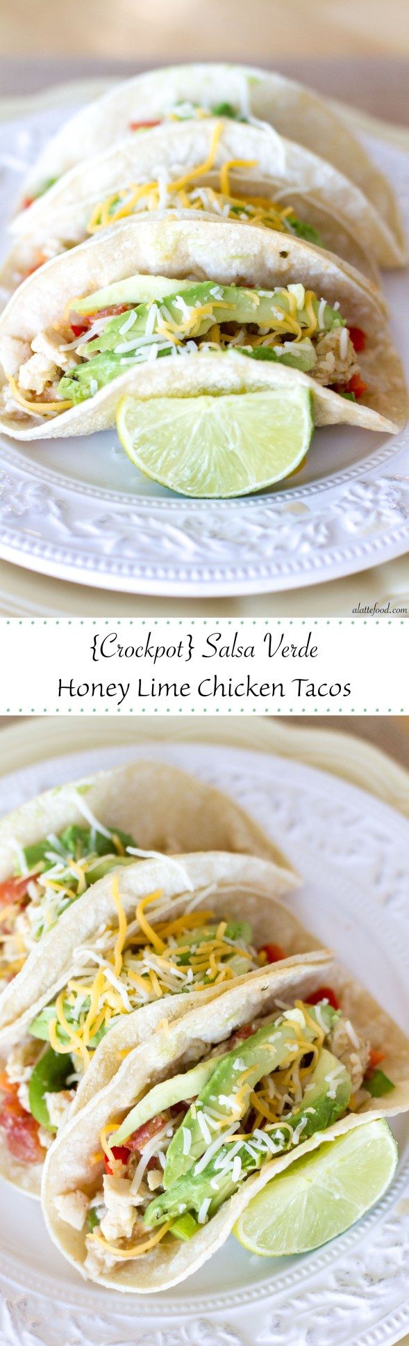 {Crockpot} Salsa Verde Honey Lime Chicken Tacos | A Latte Food
