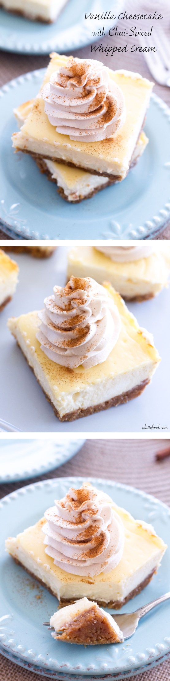 Vanilla Cheesecake Bars with Chai Whipped Cream   These creamy vanilla cheesecake bars are rich, delicious, and topped with a homemade chai whipped cream!   www.alattefood.com