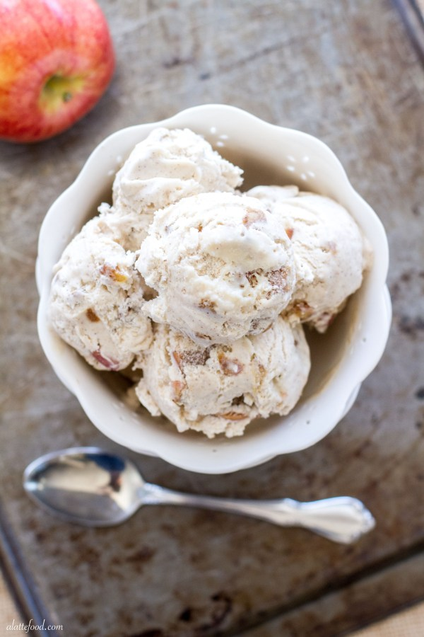 This thick, creamy ice cream is filled with caramel, apples, and plenty of cinnamon! Plus, you don't need an ice cream maker for it! You're welcome.  | www.alattefood.com